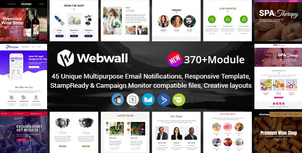 Webwall- 370+ Modules Newsletter Template + StampReady & CampaignMonitor compatible files - Newsletters Email Templates