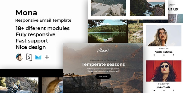 Mona – Responsive HTML Email + StampReady, MailChimp & CampaignMonitor Compatible Files - Email Templates Marketing