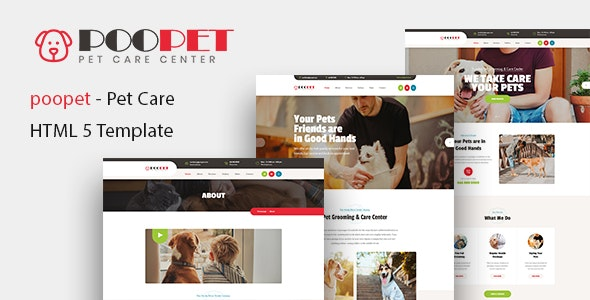 Poopet - Pet Grooming & Care Center HTML Template - Retail Site Templates