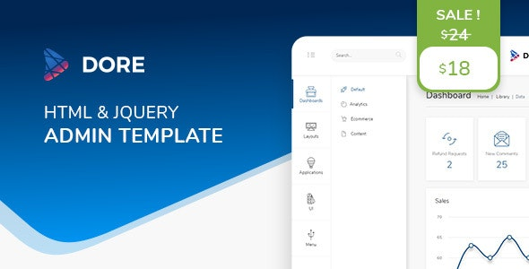 Dore jQuery - Bootstrap 4 Admin Template by