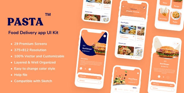 Pasta - Food Delivery app UI Kit - Business Corporate