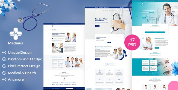 Medinus-PSD template for Medical and Hospitals - Corporate Photoshop