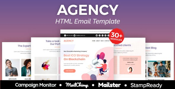 Agency - Multipurpose Responsive Email Template 30+ Modules -  Mailster & Mailchimp