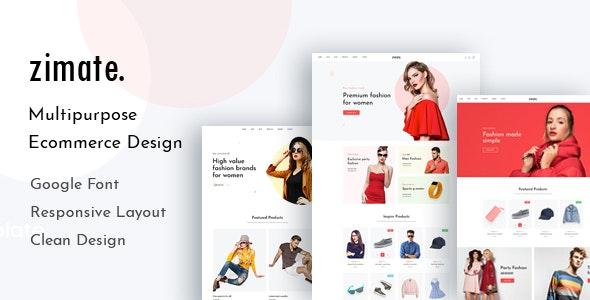 Zimate - eCommerce PSD Template - Photoshop UI Templates