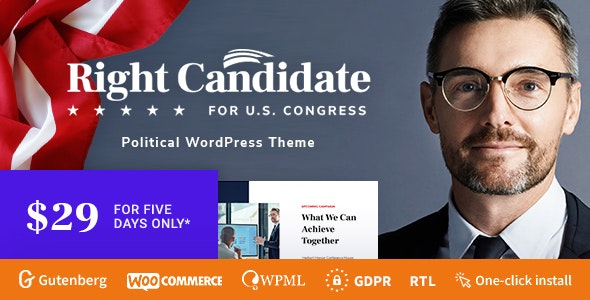 Right Candidate - Election Campaign and Political WordPress Theme - Political Nonprofit