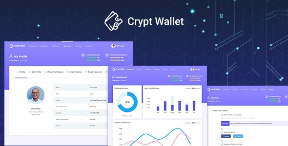 CryptWallet - Cryptocurrency React Web Wallet Template by