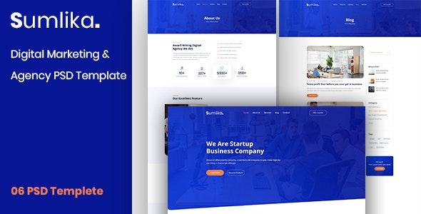 Sumlika. - Digital Marketing & Agency PSD Template - Marketing Corporate