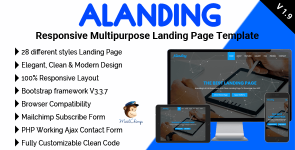 ALanding - Responsive Multipurpose Landing Page Template - Technology Landing Pages
