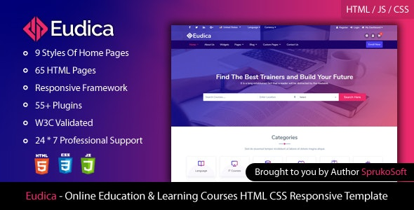 Eudica – Online Education Courses HTML Template - Site Templates