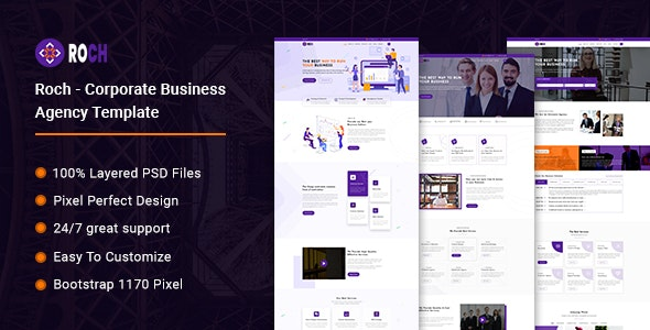Roch - Corporate Business Agency PSD Template - Photoshop UI Templates