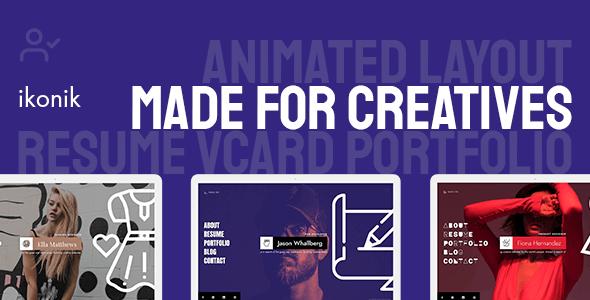 Ikonik - Resume vCard WordPress Theme - Portfolio Creative
