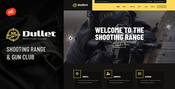 Dullet - Shooting Range & Gun Club Theme - Retail WordPress
