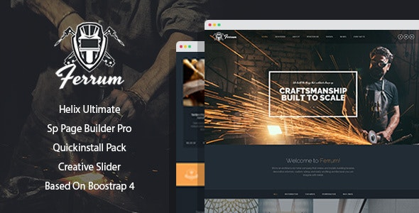 Ferrum - Welding And Metal Works Joomla Template With Page Builder - Business Corporate