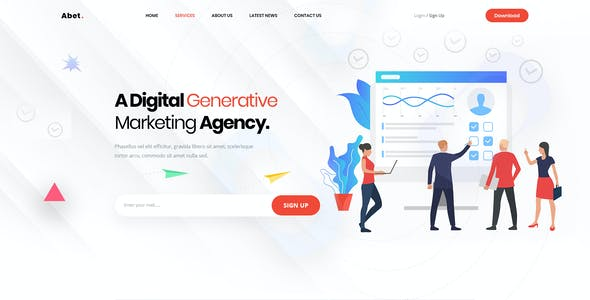 Abet - Hosting, SEO & Digital Marketing Agency PSD Template