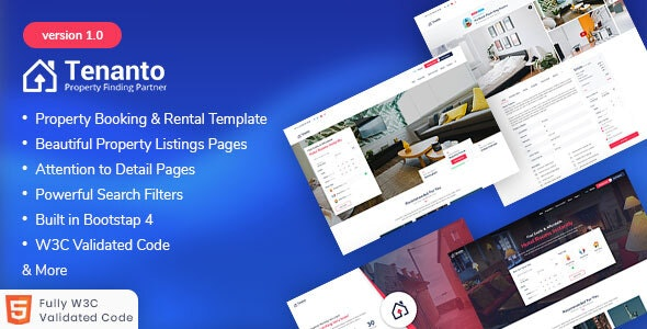 Tenanto - Homes and Property Rental Template - Corporate Site Templates