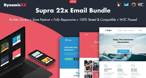 Supra - Pack of 20 Templates + Online Template Builder - Email Templates Marketing