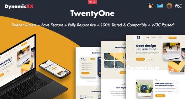 TwentyOne - Responsive Email + Online Template Builder - Email Templates Marketing