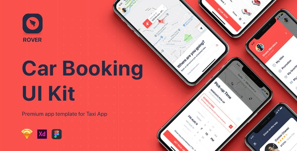 ROVER - Taxi UI Kit for Mobile App - Sketch Templates