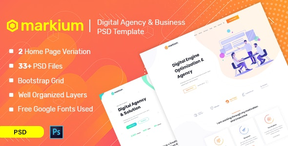 Markium - Business Agency PSD Template - Corporate Photoshop