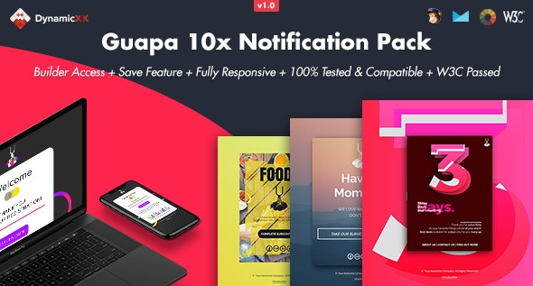 Guapa - Pack of 10 Notification Emails + Online Builder - Email Templates Marketing