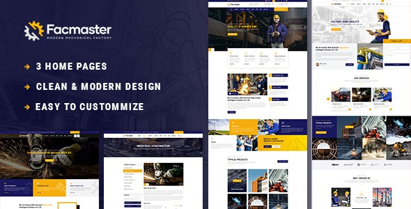 Facmaster - Factory & Industrial PSD Template - Business Corporate