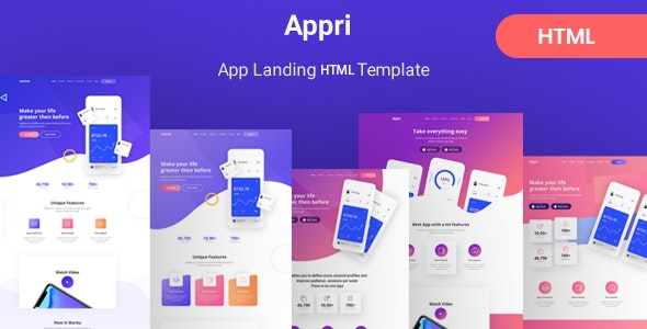 Appri - App Landing HTML5 Template - Software Technology