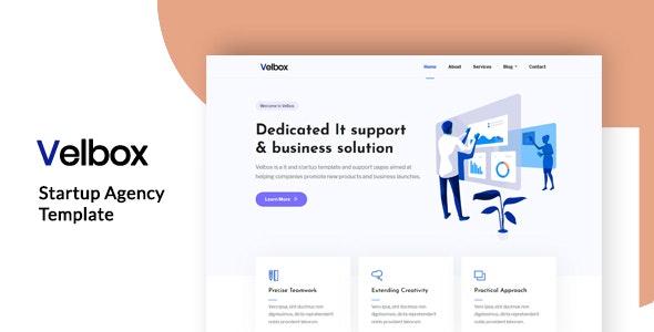 Velbox - Startup & Sass Template by DreamBuzz