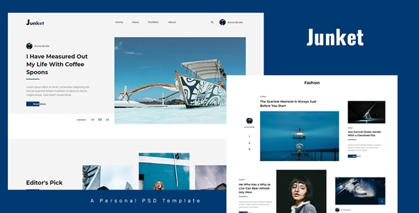 Junket - Personal Blog PSD Template - Personal Photoshop