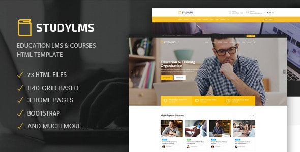 Studylms - Education LMS & Courses HTML Template - Business Corporate