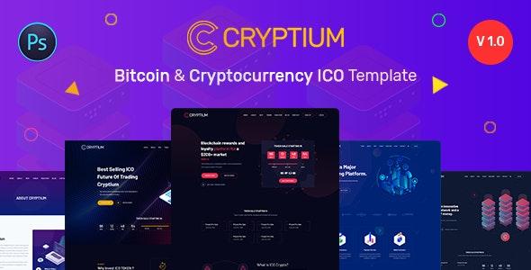 Cryptium - Bitcoin & ICO Landing Page PSD Template - Marketing Corporate