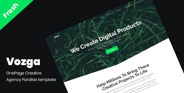 Vozga - OnePage Creative Agency Parallax template - Creative Site Templates