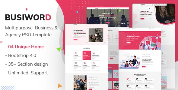Buxiword - Multipurpose Business and Agency Template - Business Corporate