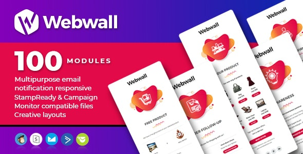 Webwall- 100 Responsive Email Notification modules with StampReady & CampaignMonitor compatible file - Newsletters Email Templates