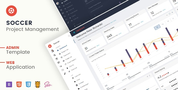 Soccer - Project Management Admin Template HTML + Laravel - Admin Templates Site Templates