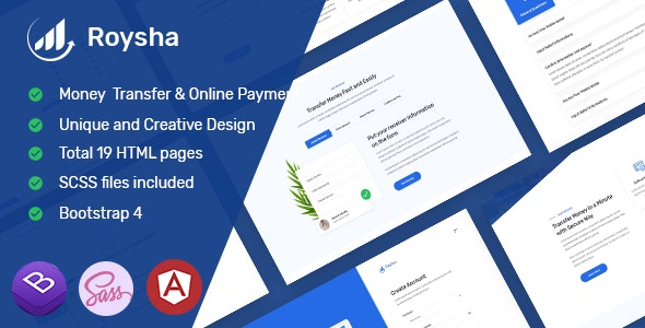 Roysha - Angular Money Transfer and Online Payments Template - Technology Site Templates