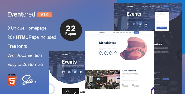 Eventcred - A Creative Event & Conference HTML Template by appscred