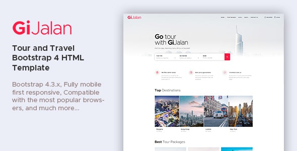 GiJalan - Tour and Travel Bootstrap 4 HTML Template - Travel Retail