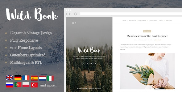 Wild Book - Vintage & Elegant WordPress Blog Theme - Personal Blog / Magazine