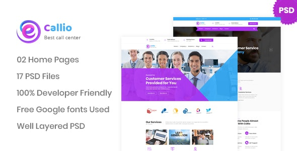 Callio - Call Center Business PSD Template - Business Corporate