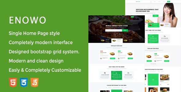 Enowo - Restaurants  Responsive HTML Template - Food Retail