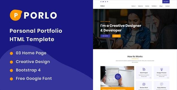 Porlo - Personal Portfolio HTML5 Templete - Portfolio Creative
