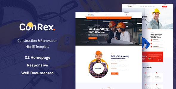 ConRex  Responsive Construction HTML Template by TerraThemes
