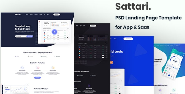 Sattari.-PSD Landing Page Template for App & Saas - Software Technology