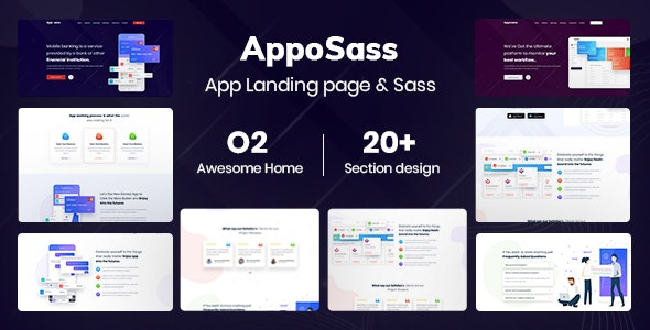 Apposass- App and Sass Product Landing Page PSD Template - Software Technology