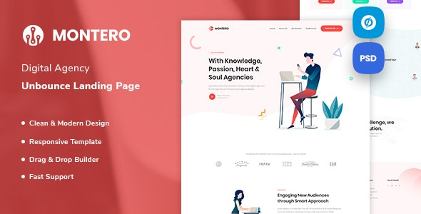 Montero - Digital Agency Unbounce Landing Page Template - Unbounce Landing Pages Marketing