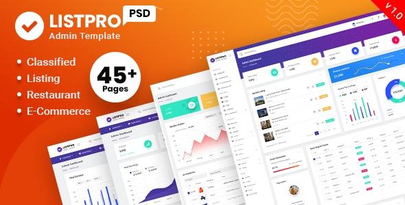 ListPro - Listing Admin PSD Template - Photoshop UI Templates