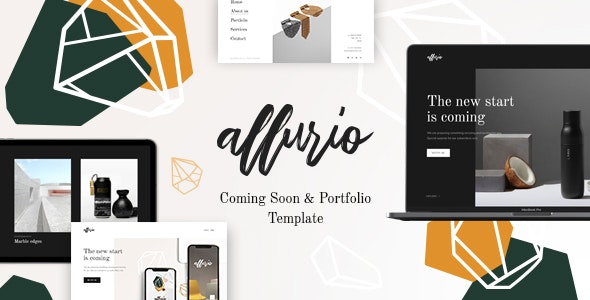 Allurio - Coming Soon and Portfolio Template - Under Construction Specialty Pages