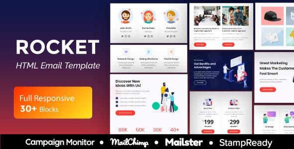 Rocket Agency - Multipurpose Responsive Email Template 30+ Modules - Mailster & Mailchimp - Newsletters Email Templates