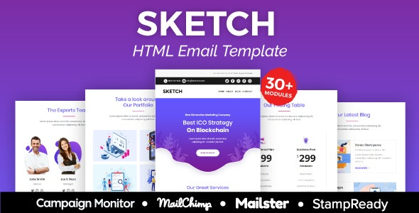 Sketch - Multipurpose Responsive Email Template 30+ Modules -  Mailster & Mailchimp - Newsletters Email Templates