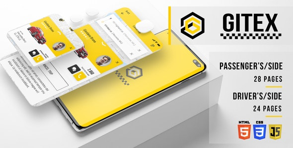 Gitex - Taxi HTML Mobile Application - Mobile Site Templates